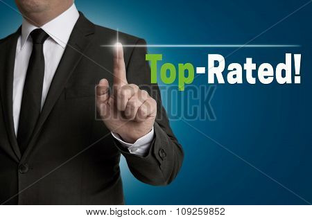 Top Rated Touchscreen Is Operated By Businessman Concept