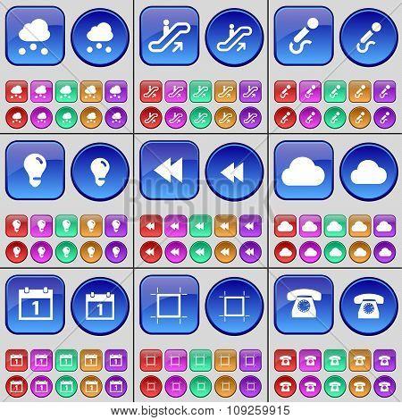 Cloud, Escalator, Microphone, Light Bulb, Rewind, Cloud, Calendar, Frame, Retro Phone. A Large Set