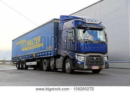 Blue Renault Trucks T Semi Parked