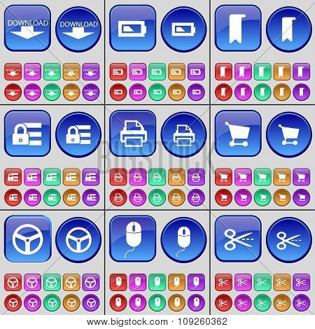 Download, Battery, Marker, Lock, Printer, Shopping Cart, Wheel, Mouse, Scissors. A Large Set Of