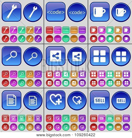 Wrench, Code, Cup, Magnifying Glass, Share, Apps, Text File, Heart, Sell. A Large Set Of Multi-