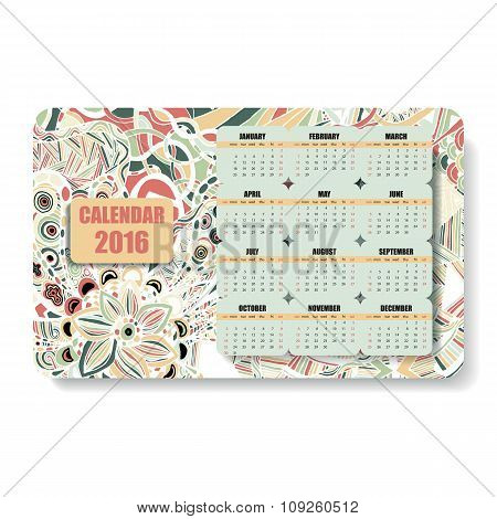 horizontal color calendar 2016 in the Zentangle and Doodle style