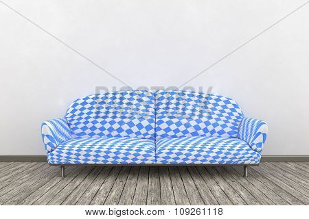 3d interior render image of a Bavarian colors sofa in a nice room