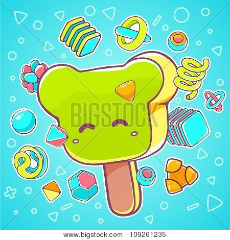 Vector Colorful Illustration Of Green Ice Cream Bear On Blue Background With Abstract Elements.