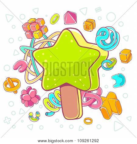 Vector Colorful Illustration Of Green Ice Cream Star On White Background With Abstract Elements.