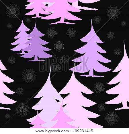 Seamless pink fir trees and stars