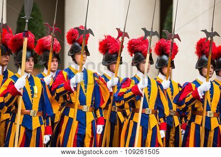 Papal Swiss Guard In Uniform