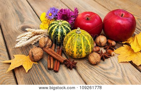 Autumn Pumpkins And Nuts