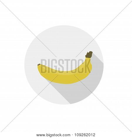 Isolated Flat Icon Of Vegetarian Food Fruits On White Background. Ripe Yellow Banana. Vector