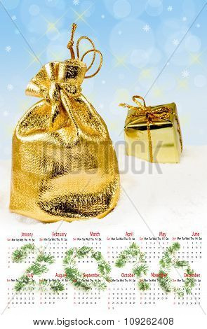 Calendar 2016. Image Of Christmas Decorations On A Blue Background