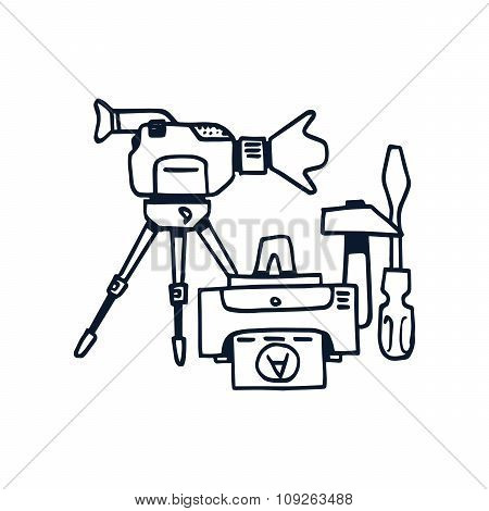 Hand drawn vector illustration icon of production