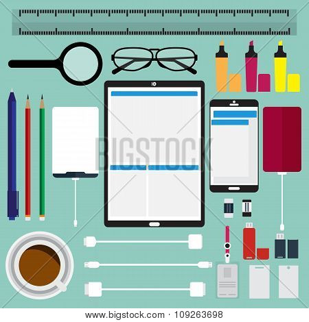 Top View Of Modern Business Technology Items And Office Items On Desk. Vector Illustration Flat Desi