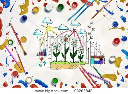 Growth and income concept drawn on white paper