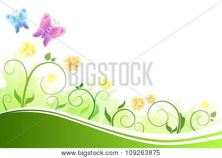 Background abstract flowers green and yellow flying blue and pink butterfly vector