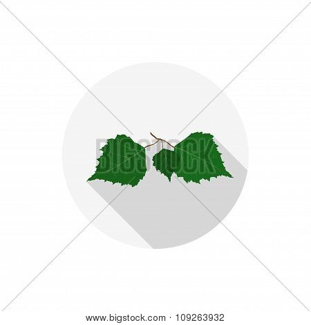 Isolated Flat Icon Of Birch Leaves On A White Background. Vector