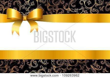 Background pattern flowers gold black with bow vector