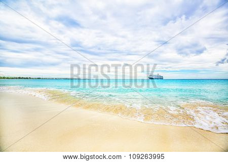 The View Of A Beach  On Uninhabited Island Half Moon Cay (the Bahamas).
