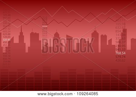 Abstract background city graph red vector