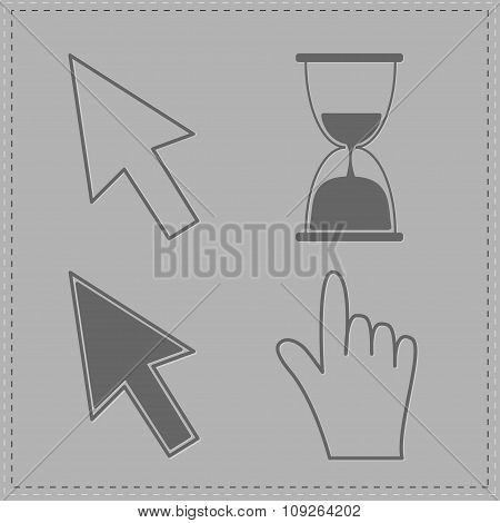 Mouse Hand Arrows And Hourglass. Grey Background.