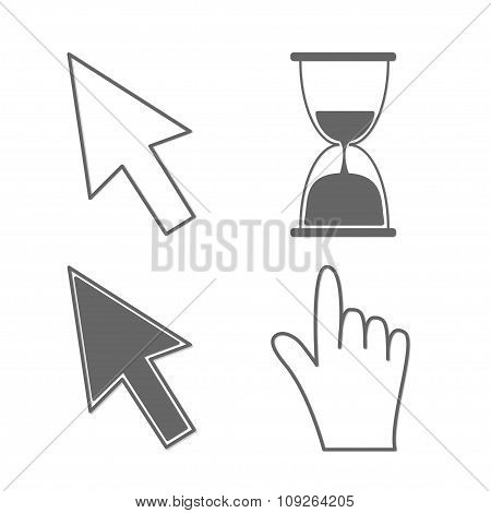 Mouse Hand Arrows And Hourglass. Isolated