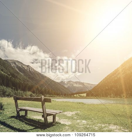 bench for relaxing with a view on the Alps in Austria