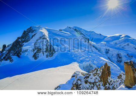 Mont Blanc and Chamonix, view from Aiguille du Midi