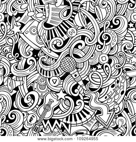 Cartoon hand-drawn doodles music seamless pattern