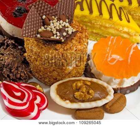 Isolated Image Of Different Delicious Cakes Closeup