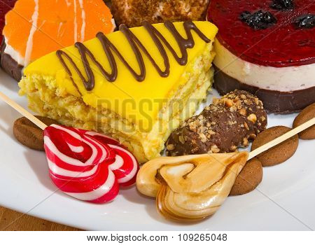 Isolated Image Of Different Delicious Cakes Close-up