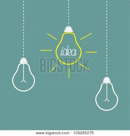 Three Hanging Yellow Light Bulbs. Idea Concept.