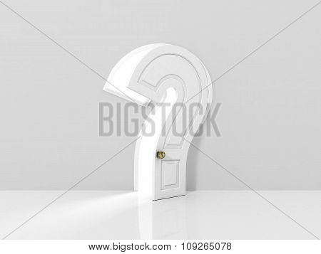 Concept Of Answer To The Question. The Opened Door In Form Of Question Sign In White Wall. Abstract