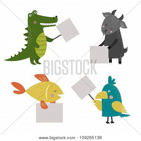 Wild animal zoo banner vector cartoon set