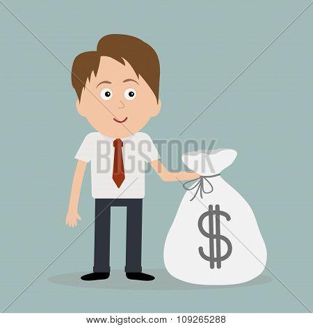 Businessman And Big Money Bag.