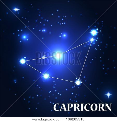 Symbol. Capricorn Zodiac Sign. Vector Illustration.