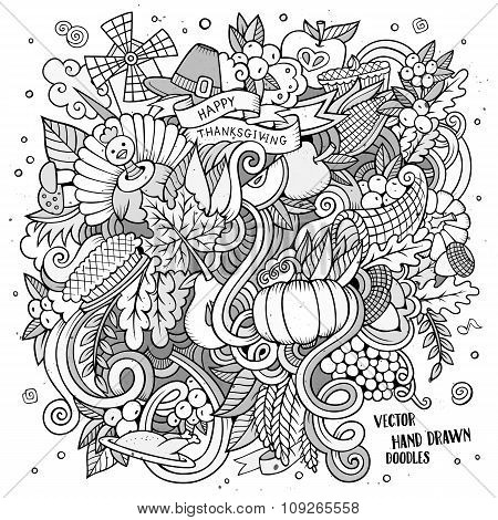 Cartoon vector hand drawn Doodle Thanksgiving illustration.