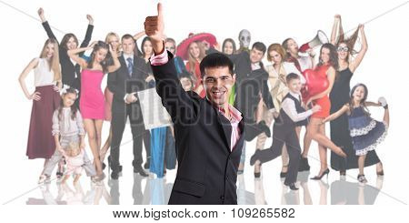 Young businessman foreground with the people crowd