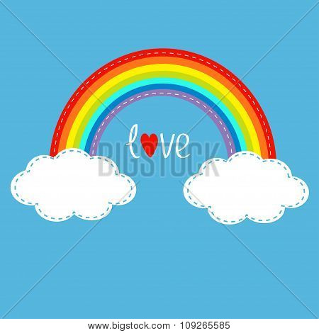 Rainbow And Clouds In The Sky. Dash Line. Love Card.