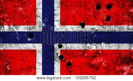Flag of Norway, Norwegian flag painted on metal with bullet holes