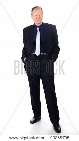 Senior caucasian businessman portrait on white