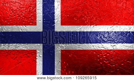 Flag of Norway, Norwegian flag painted on metal texture
