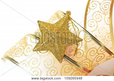 Christmas ornaments of close-up
