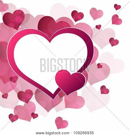 Abstract background red pink hearts frame vector