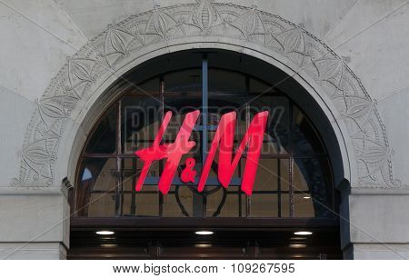H And M Fasion Store In The Hague, Sign Of Hm On The Facade