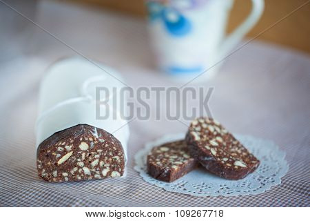 Chocolate Salami Biscuits On A Table