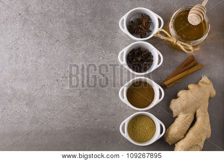 Oriental spices and honey