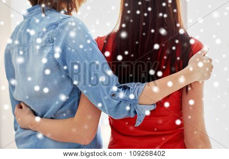 people, homosexuality, same-sex marriage, gay and love concept - close up of happy lesbian couple hugging at home over snow effect