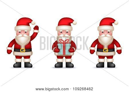 Cartoon Santa Claus Toy Character  icons Set Isolated Vector Illustration