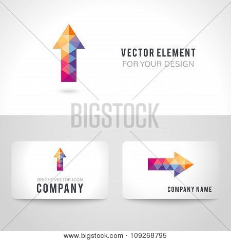 Bright colorful arrow shape in modern polygonal crystal style