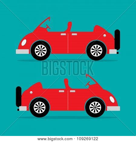 Sports Car Vintage And Classic Design In Red Color. Vector Illustration.