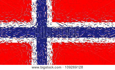 Flag of Norway, Norwegian flag with water drops